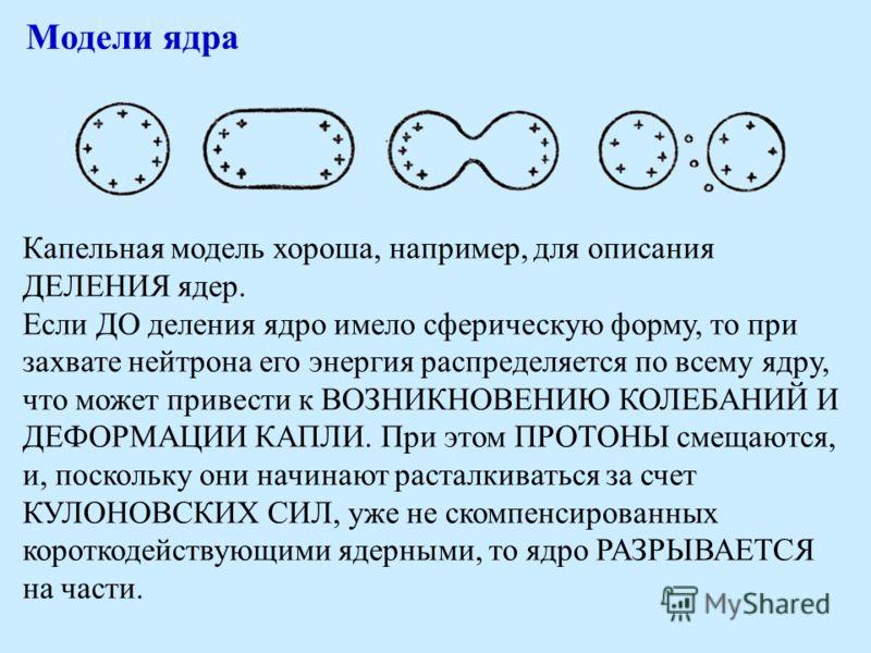 Модели ядра Капельная модель хороша, например, для описания ДЕЛЕНИЯ ядер. Если ДО деления ядро имело сферическую форму, то при захвате нейтрона его энергия распределяется по всему ядру, что может привести к ВОЗНИКНОВЕНИЮ КОЛЕБАНИЙ И ДЕФОРМАЦИИ КАПЛИ.