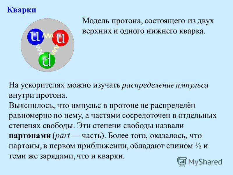 Кварки Модель протона, состоящего из двух верхних и одного нижнего кварка. На ускорителях можно изучать распределение импульса внутри протона. Выяснилось, что импульс в протоне не распределён равномерно по нему, а частями сосредоточен в отдельных сте