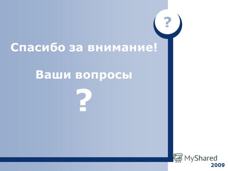 Спасибо за внимание! Ваши вопросы ? ? 2009