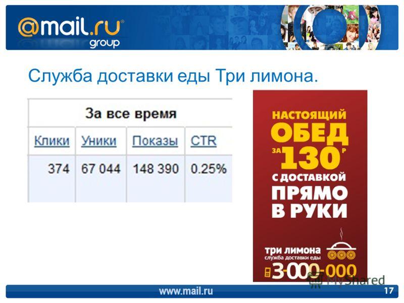 www.mail.ru 17 Служба доставки еды Три лимона.