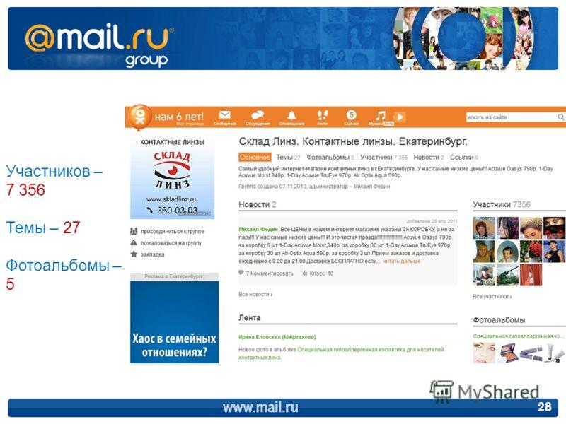 www.mail.ru 28 Участников – 7 356 Темы – 27 Фотоальбомы – 5