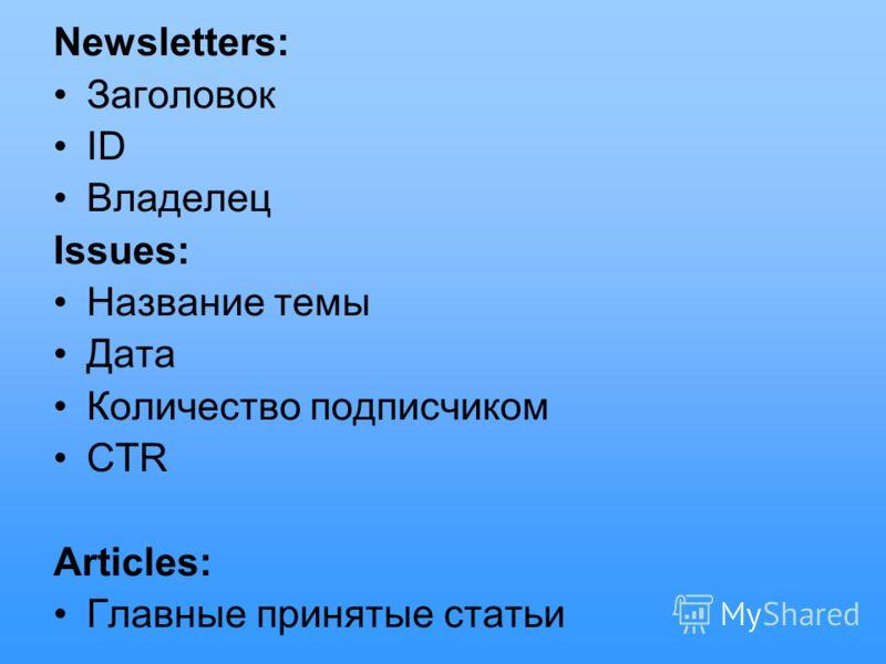 Newsletters: Заголовок ID Владелец Issues: Название темы Дата Количество подписчиком CTR Articles: Главные принятые статьи