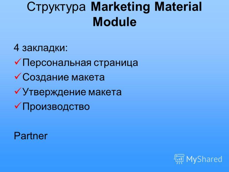 Структура Marketing Material Module 4 закладки: Персональная страница Создание макета Утверждение макета Производство Partner