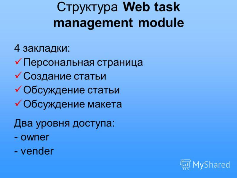 Структура Web task management module 4 закладки: Персональная страница Создание статьи Обсуждение статьи Обсуждение макета Два уровня доступа: - owner - vender
