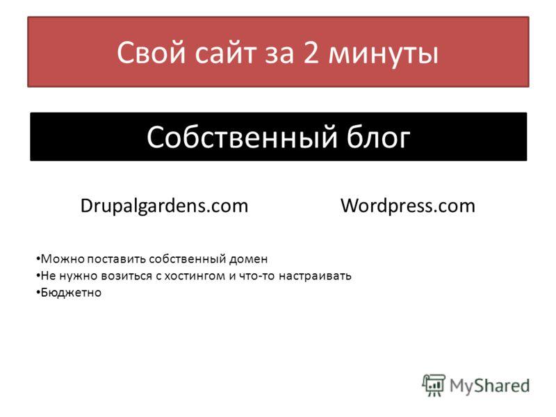 Свой сайт за 2 минуты Собственный блог Drupalgardens.com Wordpress.com Можно поставить собственный домен Не нужно возиться с хостингом и что-то настраивать Бюджетно