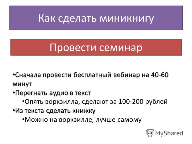 Как сделать миникнигу Провести семинар Сначала провести бесплатный вебинар на 40-60 минут Сначала провести бесплатный вебинар на 40-60 минут Перегнать аудио в текст Перегнать аудио в текст Опять воркзилла, сделают за 100-200 рублей Из текста сделать