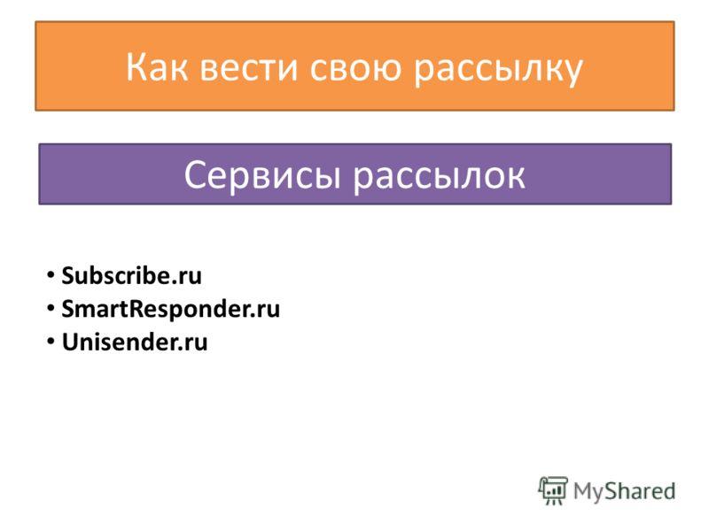 Сервисы рассылок Subscribe.ru SmartResponder.ru Unisender.ru