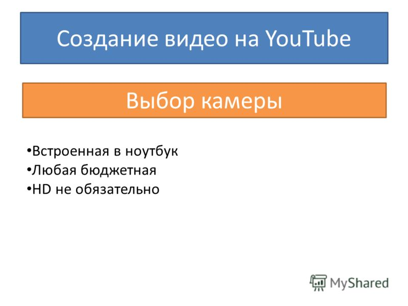 Создание видео на YouTube Выбор камеры Встроенная в ноутбук Любая бюджетная HD не обязательно