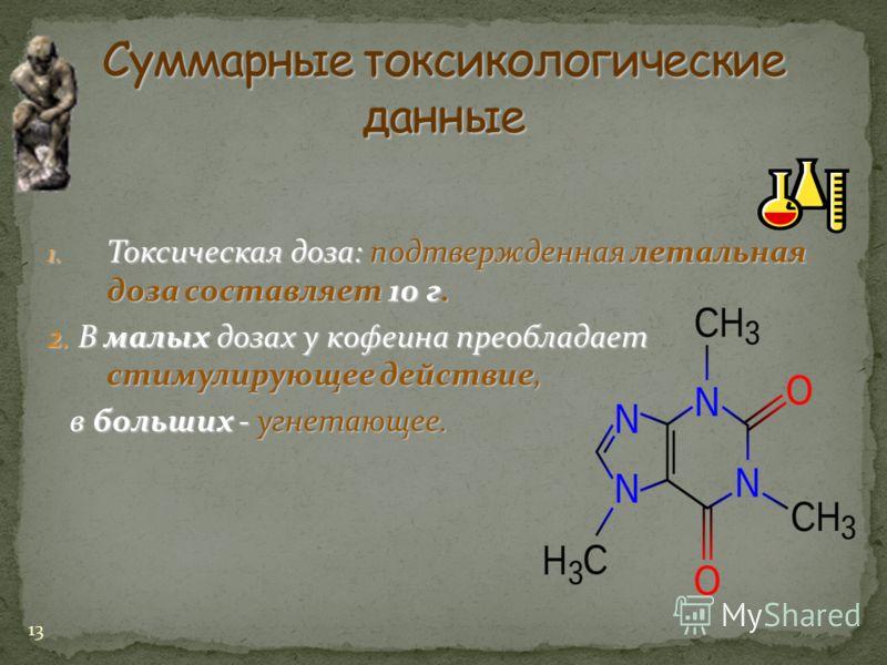 13 1. Токсическая доза: подтвержденная летальная доза составляет 10 г. 2. В малых дозах у кофеина преобладает стимулирующее действие, в больших - угнетающее. в больших - угнетающее.