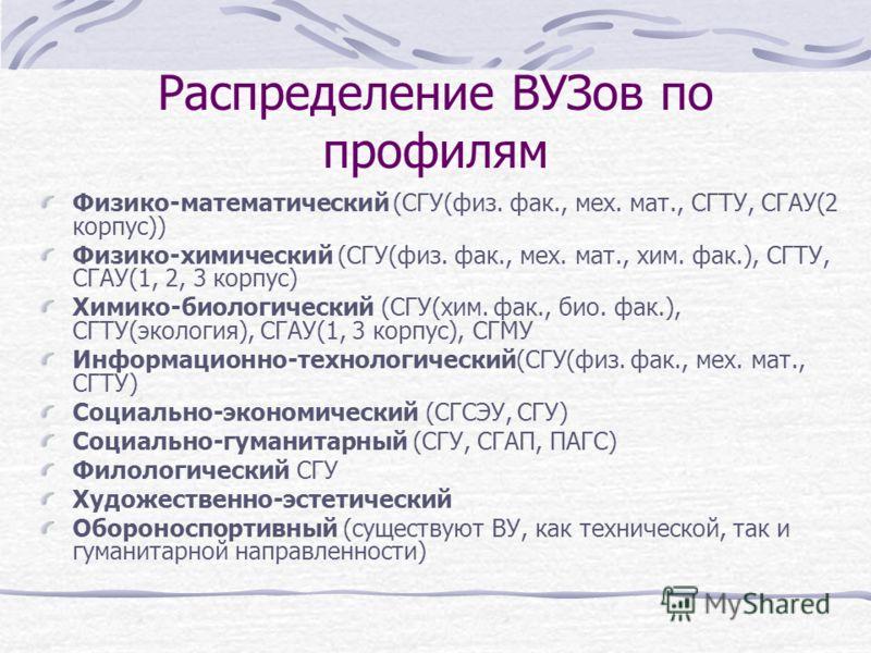 Распределение ВУЗов по профилям Физико-математический (СГУ(физ. фак., мех. мат., СГТУ, СГАУ(2 корпус)) Физико-химический (СГУ(физ. фак., мех. мат., хим. фак.), СГТУ, СГАУ(1, 2, 3 корпус) Химико-биологический (СГУ(хим. фак., био. фак.), СГТУ(экология)