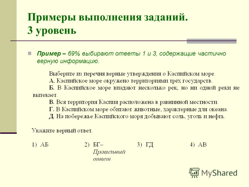Примеры выполнения заданий. 3 уровень Пример – 69% выбирают ответы 1 и 3, содержащие частично верную информацию.