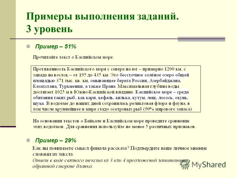 Пример – 51% Пример – 29% Примеры выполнения заданий. 3 уровень