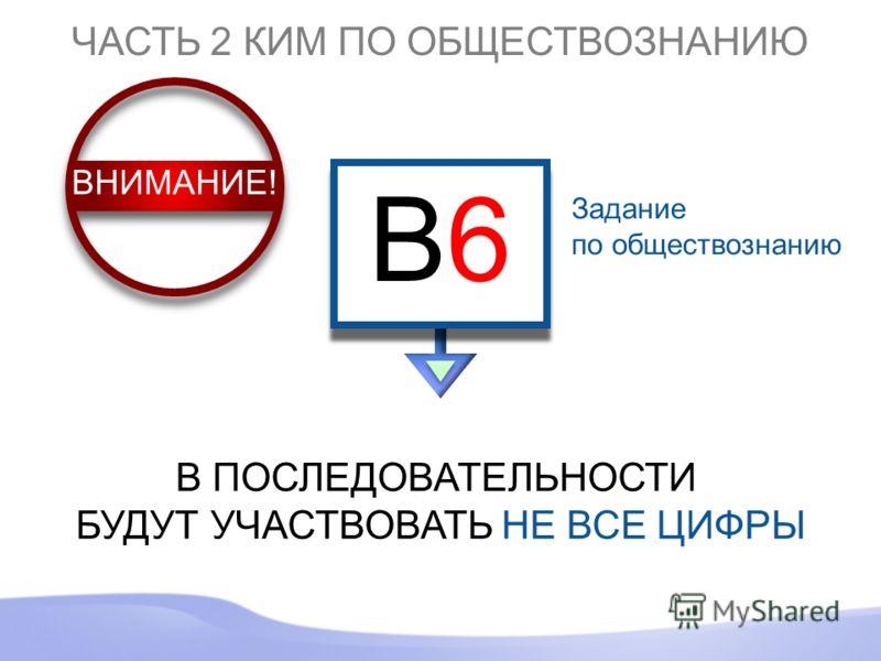 Задание по обществознанию ЧАСТЬ 2 КИМ ПО ОБЩЕСТВОЗНАНИЮ B6B6 B6B6 В ПОСЛЕДОВАТЕЛЬНОСТИ БУДУТ УЧАСТВОВАТЬ НЕ ВСЕ ЦИФРЫ