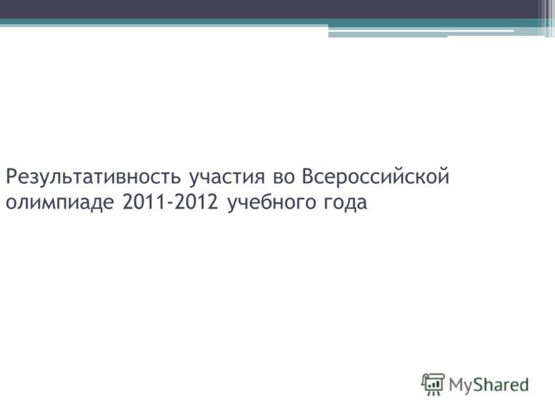 Результативность участия во Всероссийской олимпиаде 2011-2012 учебного года
