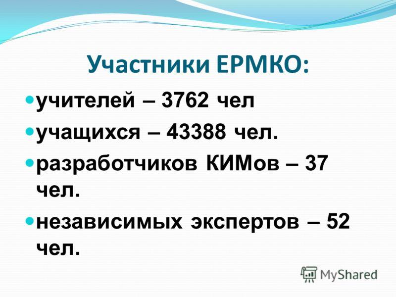 Участники ЕРМКО: учителей – 3762 чел учащихся – 43388 чел. разработчиков КИМов – 37 чел. независимых экспертов – 52 чел.