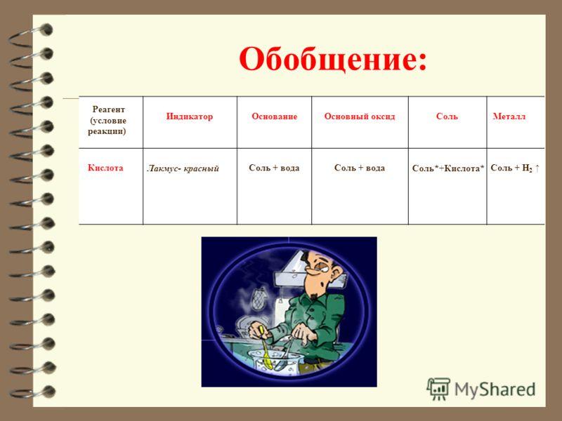 вещества кислота Н n (KO) признаки и условия реакций 1.мет алл Ме с кислотами(кроме НNO 3 (Р, К), H 2 SO 4 (К) ) реагируют только Мe, стоящие до Н 2. 2.основной оксид МеО основный оксид + кислота = соль + вода СаO+H 2 SO 4 =СаSO 4 +H 2 O t СuO+H 2 SO