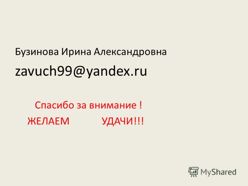 Бузинова Ирина Александровна zavuch99@yandex.ru Спасибо за внимание ! ЖЕЛАЕМ УДАЧИ!!!