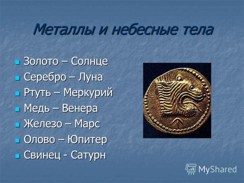 Металлы и небесные тела Золото – Солнце Золото – Солнце Серебро – Луна Серебро – Луна Ртуть – Меркурий Ртуть – Меркурий Медь – Венера Медь – Венера Железо – Марс Железо – Марс Олово – Юпитер Олово – Юпитер Свинец - Сатурн Свинец - Сатурн