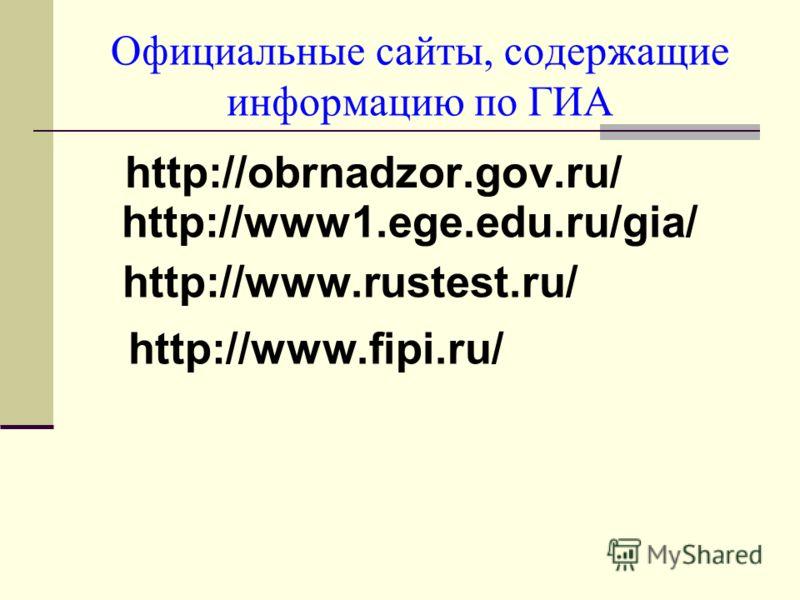 Официальные сайты, содержащие информацию по ГИА http://obrnadzor.gov.ru/ http://www1.ege.edu.ru/gia/ http://www.rustest.ru/ http://www.fipi.ru/