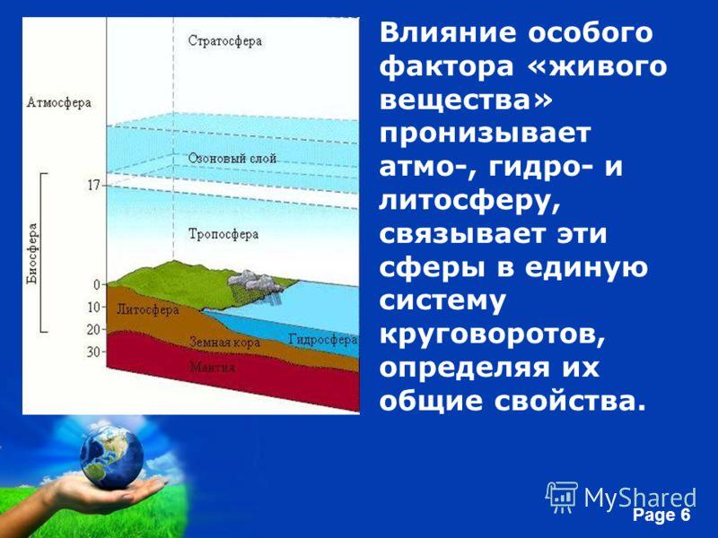 Free Powerpoint Templates Page 6 Влияние особого фактора «живого вещества» пронизывает атмо-, гидро- и литосферу, связывает эти сферы в единую систему круговоротов, определяя их общие свойства.
