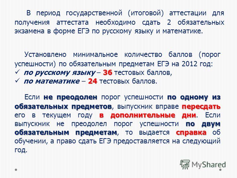 В период государственной (итоговой) аттестации для получения аттестата необходимо сдать 2 обязательных экзамена в форме ЕГЭ по русскому языку и математике. Установлено минимальное количество баллов (порог успешности) по обязательным предметам ЕГЭ на