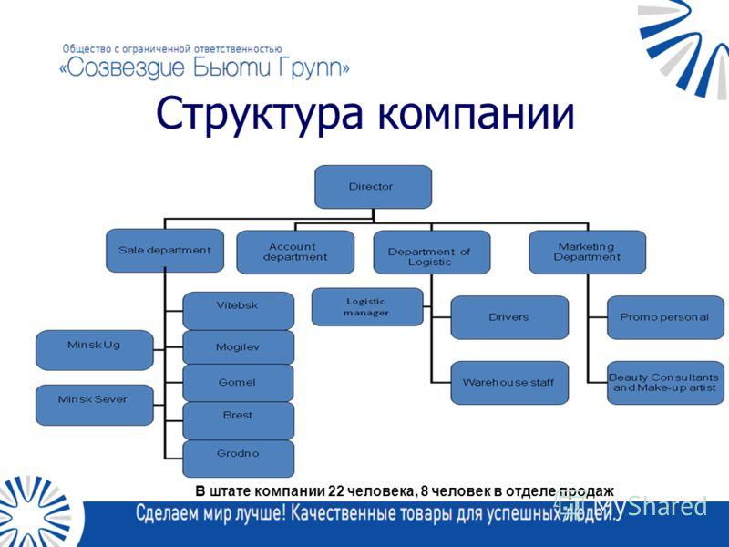В штате компании 22 человека, 8 человек в отделе продаж Структура компании