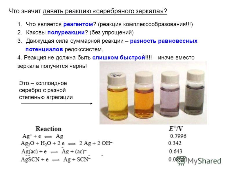 Что значит давать реакцию «серебряного зеркала»? 1.Что является реагентом? (реакция комплексообразования!!!) 2.Каковы полуреакции? (без упрощений) 3.Движущая сила суммарной реакции – разность равновесных потенциалов редокссистем. 4. Реакция не должна