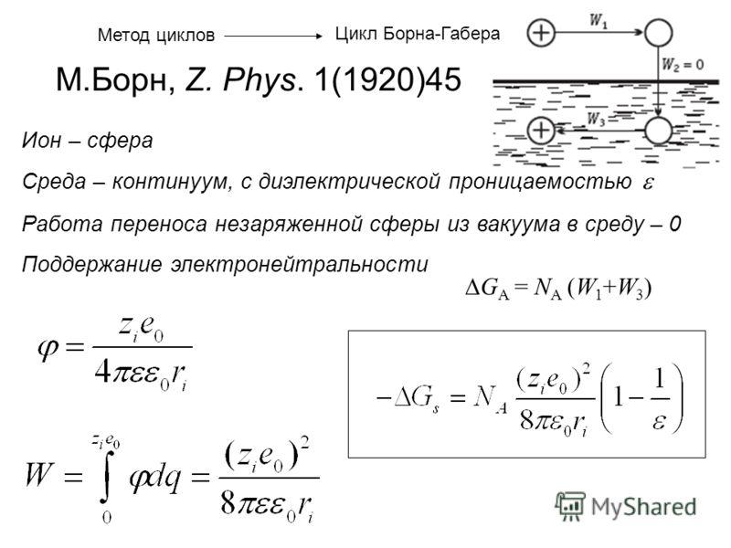 Ион – сфера Среда – континуум, с диэлектрической проницаемостью Работа переноса незаряженной сферы из вакуума в среду – 0 Поддержание электронейтральности М.Борн, Z. Phys. 1(1920)45 G A = N A (W 1 +W 3 ) Метод циклов Цикл Борна-Габера