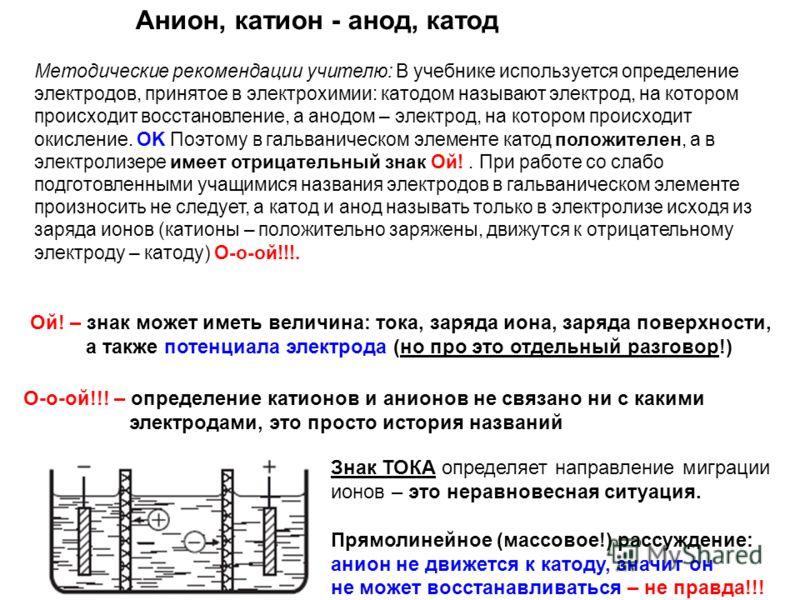 Методические рекомендации учителю: В учебнике используется определение электродов, принятое в электрохимии: катодом называют электрод, на котором происходит восстановление, а анодом – электрод, на котором происходит окисление. OK Поэтому в гальваниче