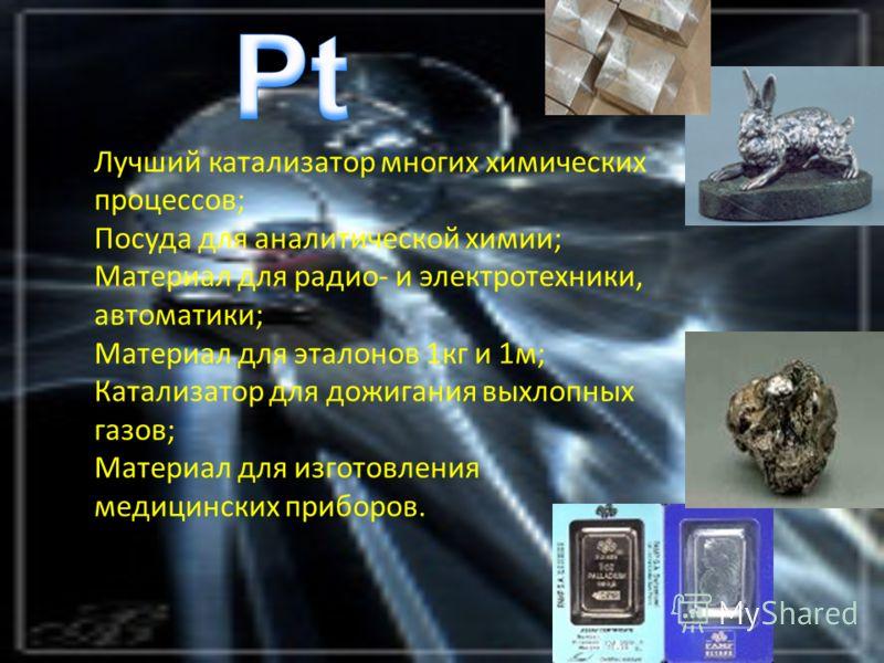 Лучший катализатор многих химических процессов; Посуда для аналитической химии; Материал для радио- и электротехники, автоматики; Материал для эталонов 1кг и 1м; Катализатор для дожигания выхлопных газов; Материал для изготовления медицинских приборо