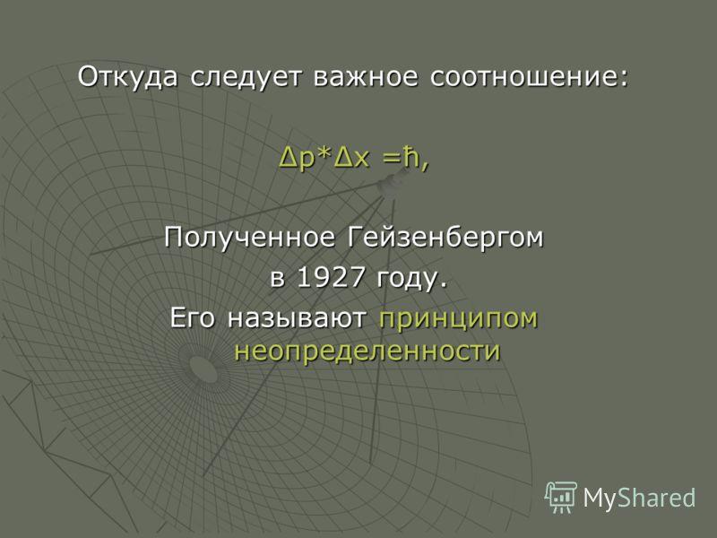 Откуда следует важное соотношение: р*х =ћ, Полученное Гейзенбергом в 1927 году. в 1927 году. Его называют принципом неопределенности