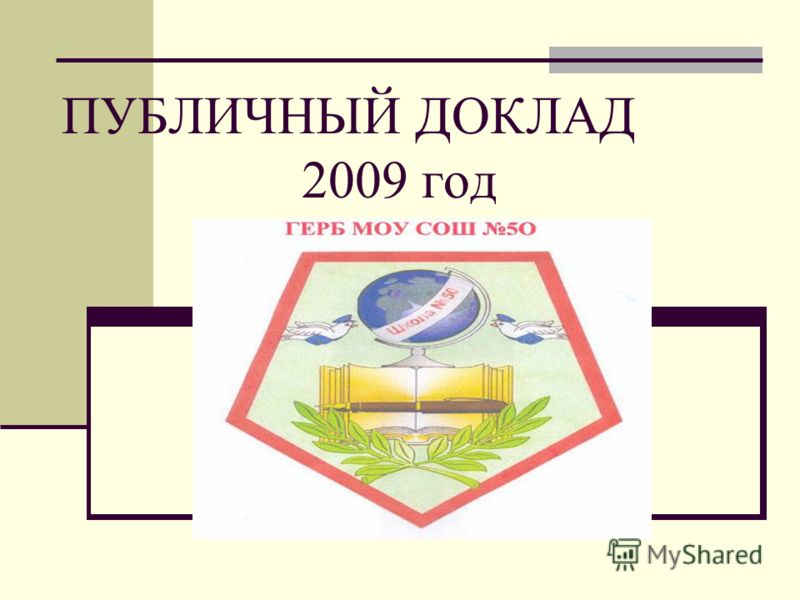 ПУБЛИЧНЫЙ ДОКЛАД 2009 год