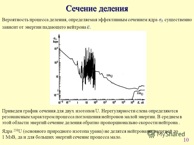 10 Сечение деления Вероятность процесса деления, определяемая эффективным сечением ядра σ f, существенно зависит от энергии падающего нейтрона ε. Приведен график сечения для двух изотопов U. Нерегулярности слева определяются резонансным характером пр
