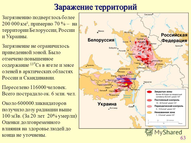 63 Заражение территорий Загрязнению подверглось более 200 000 км², примерно 70 % – на территории Белоруссии, России и Украины. Загрязнение не ограничилось приведенной зоной. Было отмечено повышенное содержание 137 Cs в ягеле и мясе оленей в арктическ