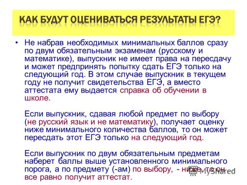 Не набрав необходимых минимальных баллов сразу по двум обязательным экзаменам (русскому и математике), выпускник не имеет права на пересдачу и может предпринять попытку сдать ЕГЭ только на следующий год. В этом случае выпускник в текущем году не полу