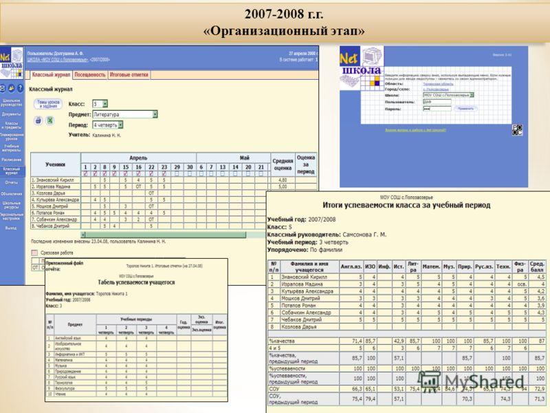 2007-2008 г.г. «Организационный этап»