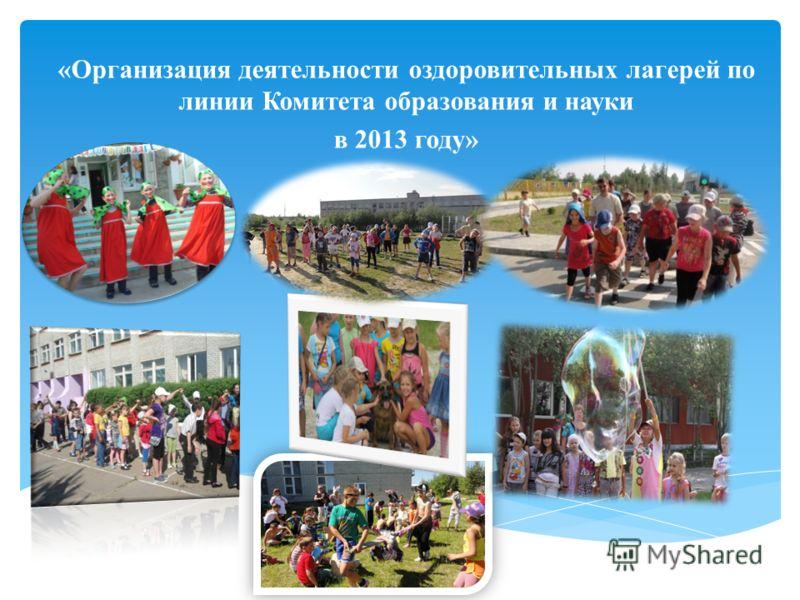 «Организация деятельности оздоровительных лагерей по линии Комитета образования и науки в 2013 году»