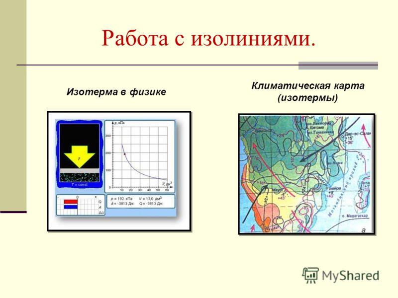 Работа с изолиниями. Климатическая карта (изотермы) Изотерма в физике