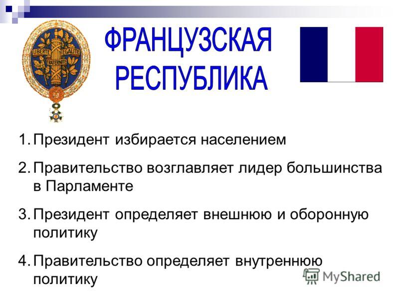 1.Президент избирается населением 2.Правительство возглавляет лидер большинства в Парламенте 3.Президент определяет внешнюю и оборонную политику 4.Правительство определяет внутреннюю политику