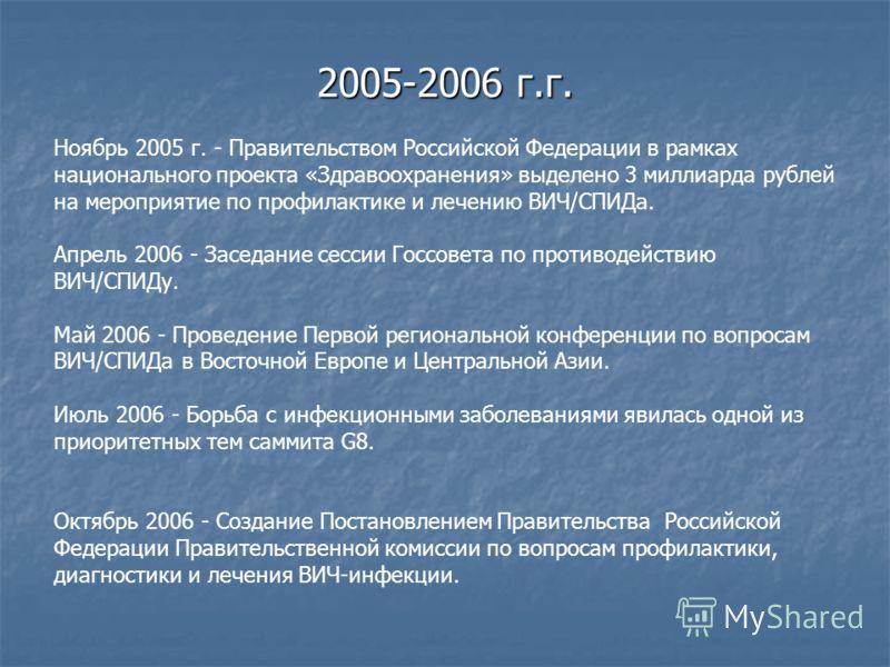 Цель: Ноябрь 2005 г. - Правительством Российской Федерации в рамках национального проекта «Здравоохранения» выделено 3 миллиарда рублей на мероприятие по профилактике и лечению ВИЧ/СПИДа. Апрель 2006 - Заседание сессии Госсовета по противодействию ВИ