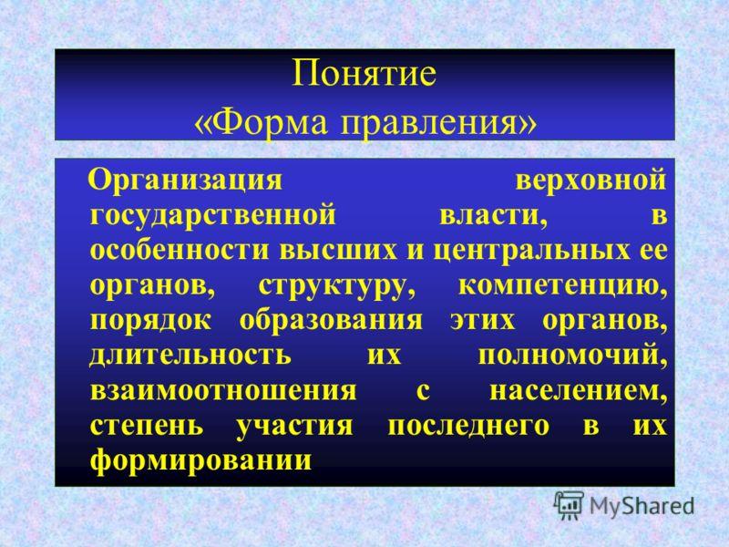 Понятие «Форма правления» Организация верховной государственной власти, в особенности высших и центральных ее органов, структуру, компетенцию, порядок