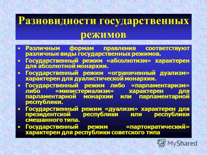 Разновидности государственных режимов Различным формам правления соответствуют различные виды государственных режимов. Государственный режим «абсолюти