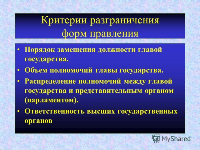 Критерии разграничения форм правления Порядок замещения должности главой государства. Объем полномочий главы государства. Распределение полномочий меж