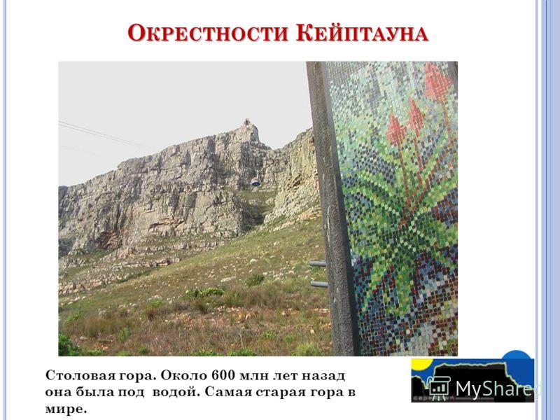 О КРЕСТНОСТИ К ЕЙПТАУНА Столовая гора. Около 600 млн лет назад она была под водой. Самая старая гора в мире.
