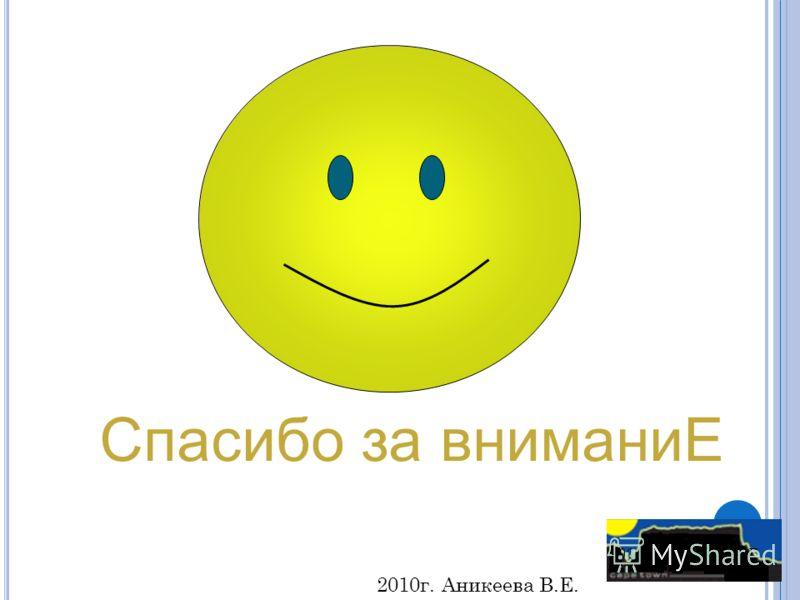 Спасибо за вниманиЕ 2004, Овсянников А.Г. 2010г. Аникеева В.Е.
