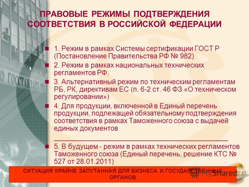 ПРАВОВЫЕ РЕЖИМЫ ПОДТВЕРЖДЕНИЯ СООТВЕТСТВИЯ В РОССИЙСКОЙ ФЕДЕРАЦИИ 1. Режим в рамках Системы сертификации ГОСТ Р (Постановление Правительства РФ 982) 2. Режим в рамках национальных технических регламентов РФ. 3. Альтернативный режим по техническим рег