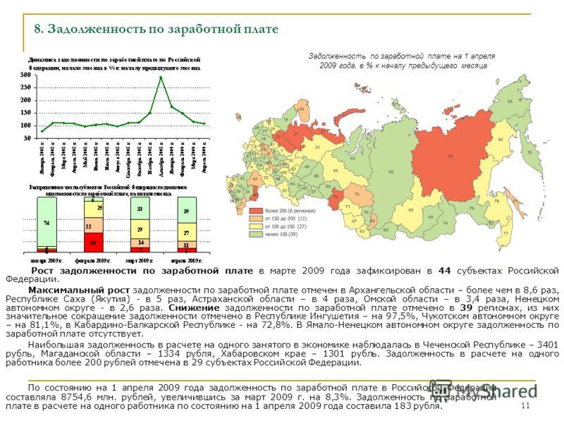 11 8. Задолженность по заработной плате Рост задолженности по заработной плате в марте 2009 года зафиксирован в 44 субъектах Российской Федерации. Максимальный рост задолженности по заработной плате отмечен в Архангельской области – более чем в 8,6 р