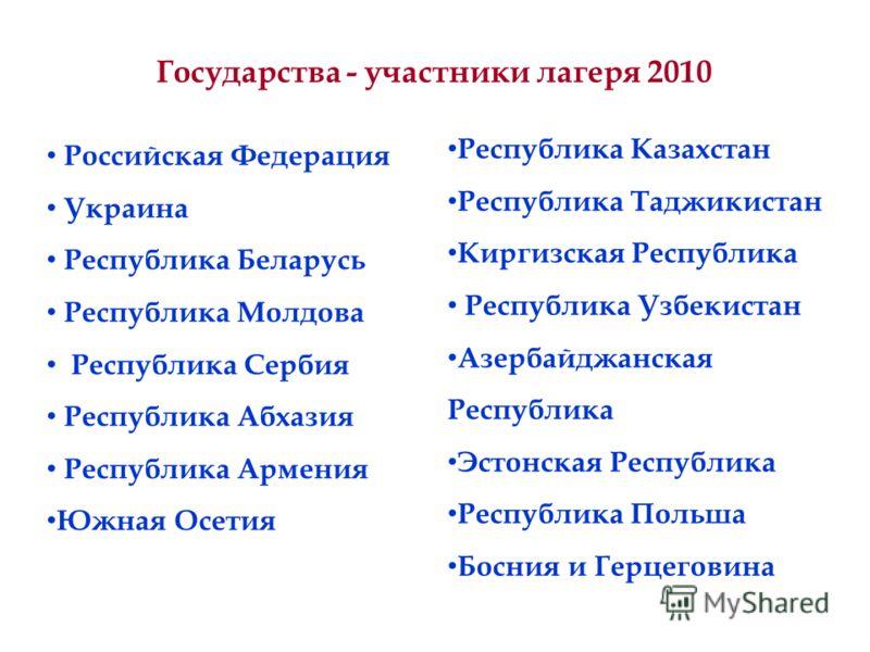 Государства - участники лагеря 2010 Российская Федерация Украина Республика Беларусь Республика Молдова Республика Сербия Республика Абхазия Республика Армения Южная Осетия Республика Казахстан Республика Таджикистан Киргизская Республика Республика