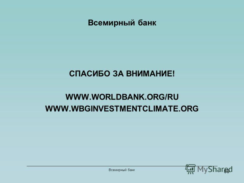 69 Всемирный банк СПАСИБО ЗА ВНИМАНИЕ! WWW.WORLDBANK.ORG/RU WWW.WBGINVESTMENTCLIMATE.ORG Всемирный банк