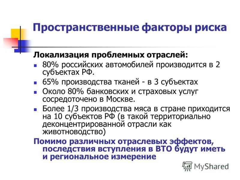 Пространственные факторы риска Локализация проблемных отраслей: 80% российских автомобилей производится в 2 субъектах РФ. 65% производства тканей - в 3 субъектах Около 80% банковских и страховых услуг сосредоточено в Москве. Более 1/3 производства мя